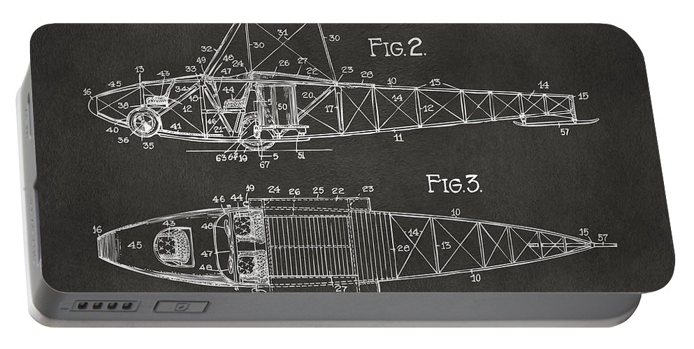 Airplane Portable Battery Charger featuring the digital art 1917 Glenn Curtiss Aeroplane Patent Artwork 2 - Gray by Nikki Marie Smith