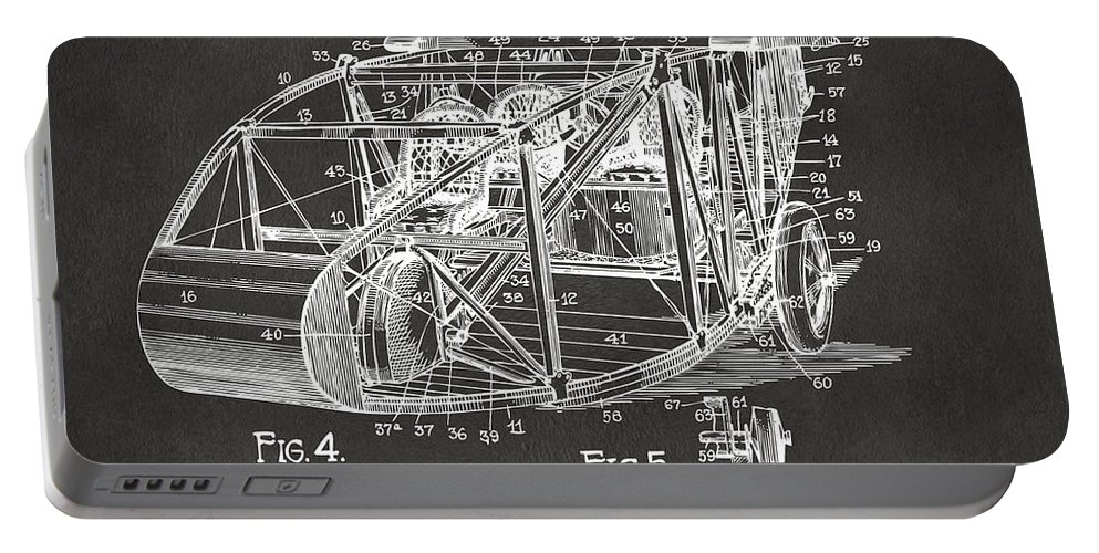 Airplane Portable Battery Charger featuring the digital art 1917 Glenn Curtiss Aeroplane Patent Artwork 3 - Gray by Nikki Marie Smith