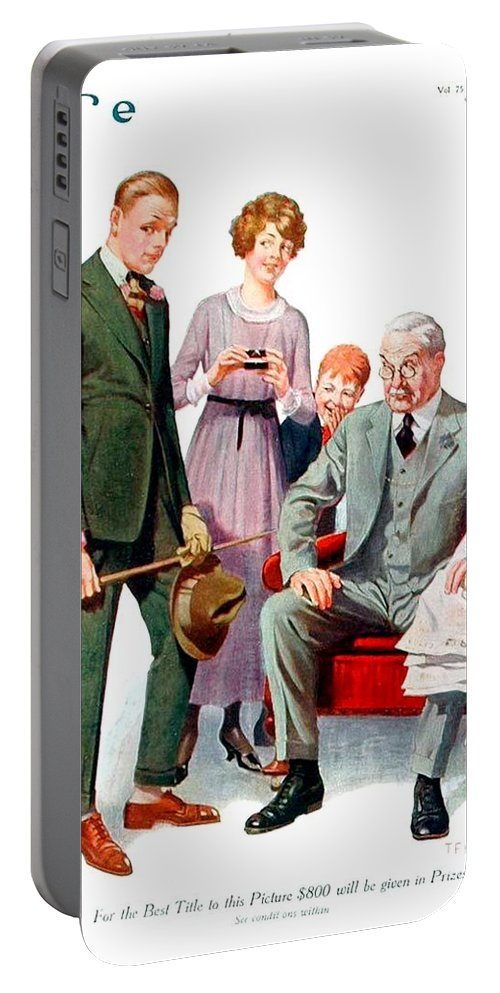 1920 Portable Battery Charger featuring the digital art 1920 - Life Magazine Cover - Engagement - J F Kernan - January 29 - Color by John Madison