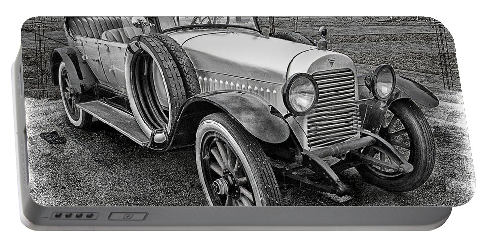 Hudson Portable Battery Charger featuring the photograph 1921 Hudson-b-w by Ericamaxine Price