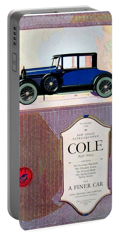 Cole Portable Battery Charger featuring the digital art 1922 - Cole 890 - Advertisement - Color by John Madison
