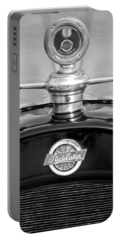 1922 Studebaker Touring Portable Battery Charger featuring the photograph 1922 Studebaker Touring Hood Ornament 3 by Jill Reger