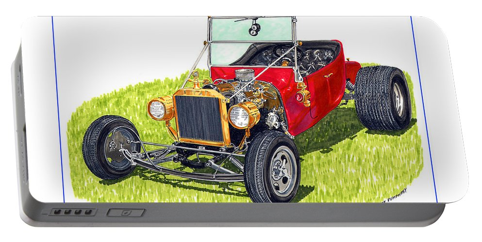 Framed Pen And Ink Images Of Classic Ford Cars. Pen And Ink Drawings Of Vintage Classic Cars. Black And White Drawings Of Cars From The 1920's Portable Battery Charger featuring the painting T Bucket Ford 1923 by Jack Pumphrey
