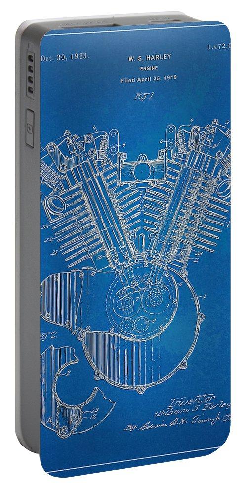 Harley-davidson Portable Battery Charger featuring the digital art 1923 Harley Davidson Engine Patent Artwork - Blueprint by Nikki Smith