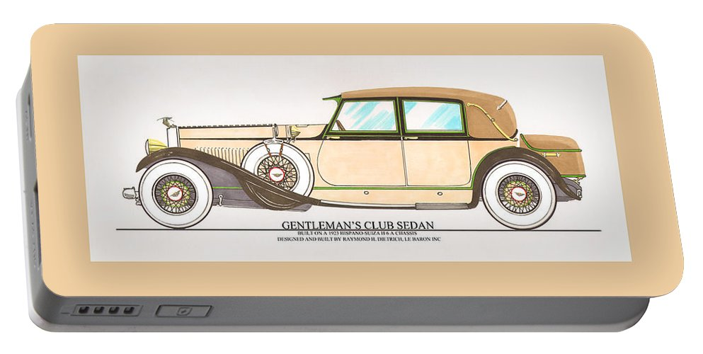 Car Art Portable Battery Charger featuring the painting 1923 Hispano Suiza Club Sedan By R.h.dietrich by Jack Pumphrey