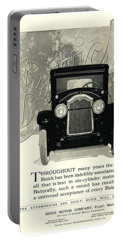 1924 Portable Battery Charger featuring the digital art 1924 - Buick Six Advertisement by John Madison