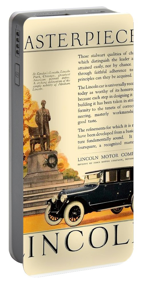 1924 Portable Battery Charger featuring the digital art 1924 - Lincoln Automobile - Color by John Madison