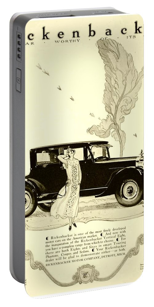 Portable Battery Charger featuring the digital art 1924 - Rickenbacker Automobile Advertisement by John Madison
