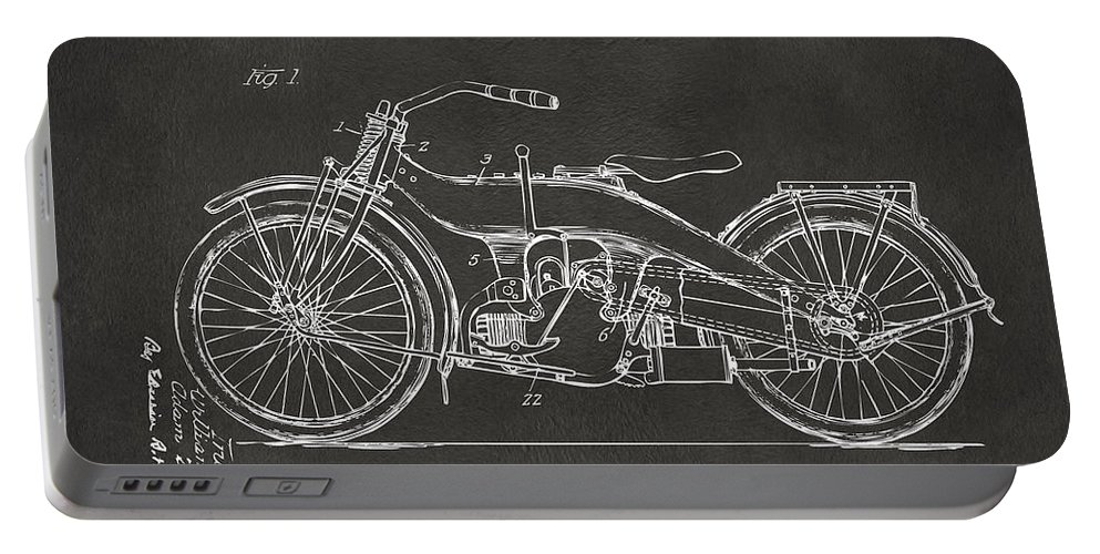 Harley Portable Battery Charger featuring the digital art 1924 Harley Motorcycle Patent Artwork - Gray 1924 by Nikki Marie Smith