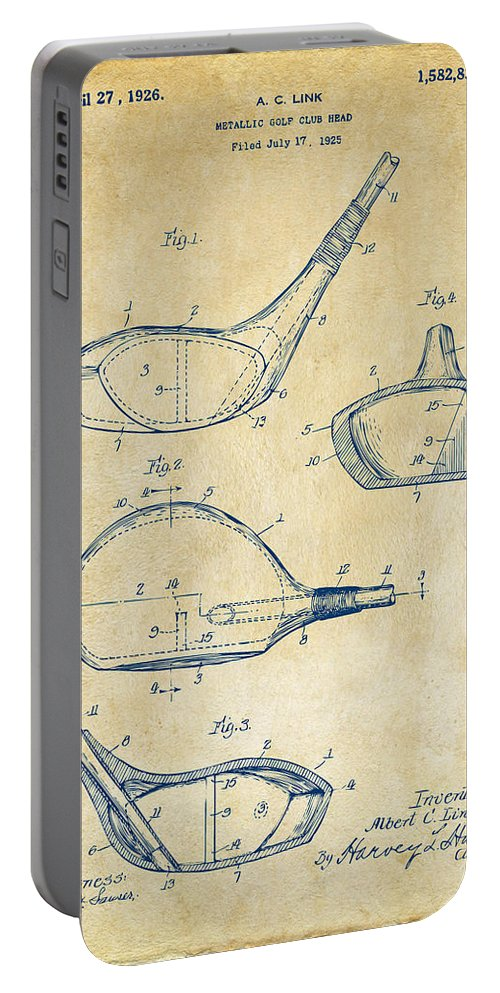 Golf Portable Battery Charger featuring the digital art 1926 Golf Club Patent Artwork - Vintage 1926 by Nikki Marie Smith