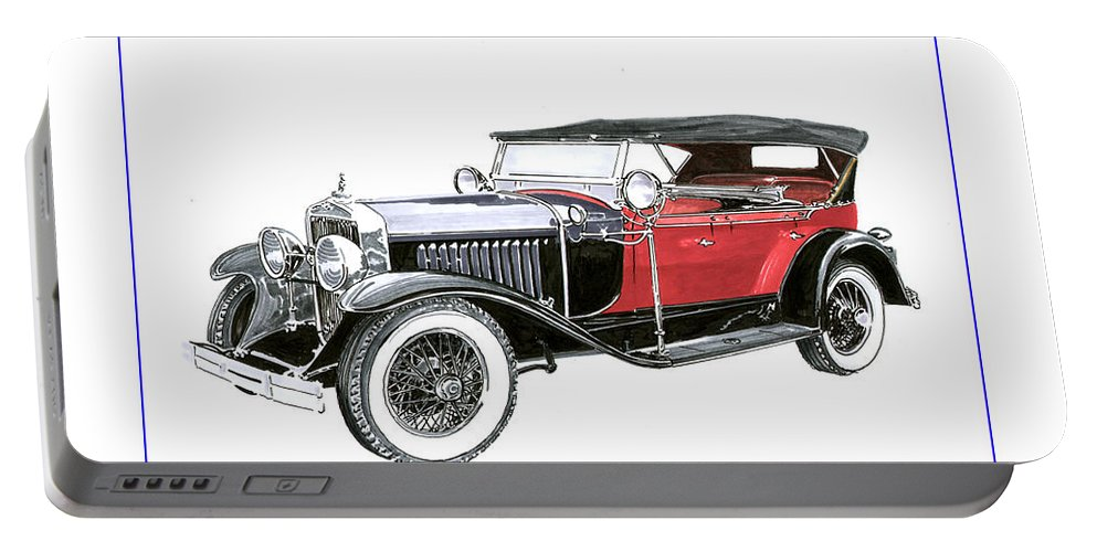 Artwork Of Classic Cars Portable Battery Charger featuring the painting 1927 La Salle Dual Cowl Phaeton by Jack Pumphrey