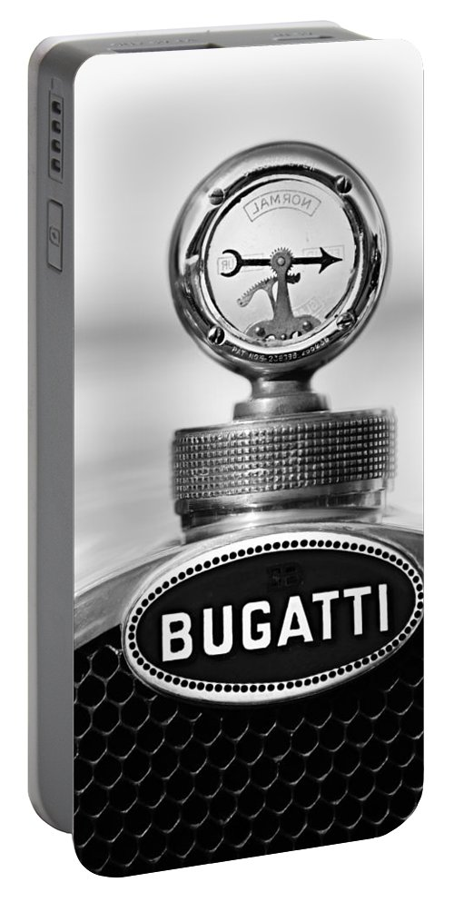 1928 Bugatti Type 44 Cabriolet Hood Ornament - Emblem Portable Battery Charger featuring the photograph 1928 Bugatti Type 44 Cabriolet Hood Ornament - Emblem by Jill Reger