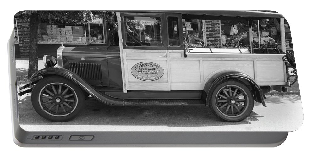 1928 Chevy Half Ton Pick Up In Black And White Portable Battery Charger featuring the photograph 1928 Chevy Half Ton Pick Up In Black And White by John Telfer