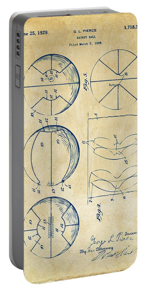 Basketball Portable Battery Charger featuring the digital art 1929 Basketball Patent Artwork - Vintage by Nikki Marie Smith