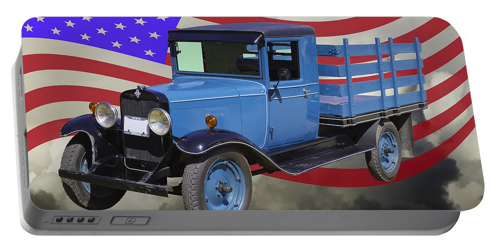 1929 Portable Battery Charger featuring the photograph 1929 Blue Chevy Truck And American Flag by Keith Webber Jr
