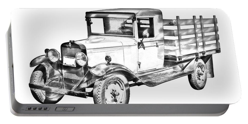 1929 Portable Battery Charger featuring the photograph 1929 Chevy Truck 1 Ton Stake Body Drawing by Keith Webber Jr