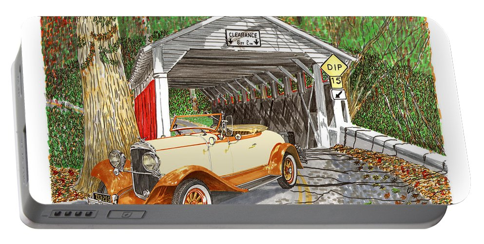 Images Of 1929 Chrysler 65 Roadsters. Framed Prints Of 1929 Chrysler 65 Roadsters. Images Of Covered Bridges. Covered Bridges In Ohio Portable Battery Charger featuring the painting 1929 Chrysler 65 Covered Bridge by Jack Pumphrey