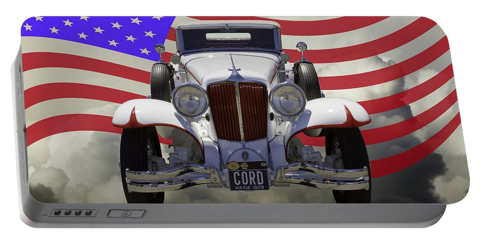Vintage Portable Battery Charger featuring the photograph 1929 Cord 6-29 Cabriolet Antique Car With American Flag by Keith Webber Jr