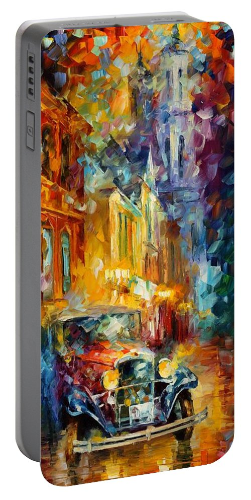 Afremov Painting Palette Knife Art Handmade Surreal Abstract Oil Landscape Original Realism Unique Special Life Color Beauty Admiring Light Reflection Piece Renown Authenticity Smooth Certificate Colorful Beauty Portable Battery Charger featuring the painting 1930's by Leonid Afremov