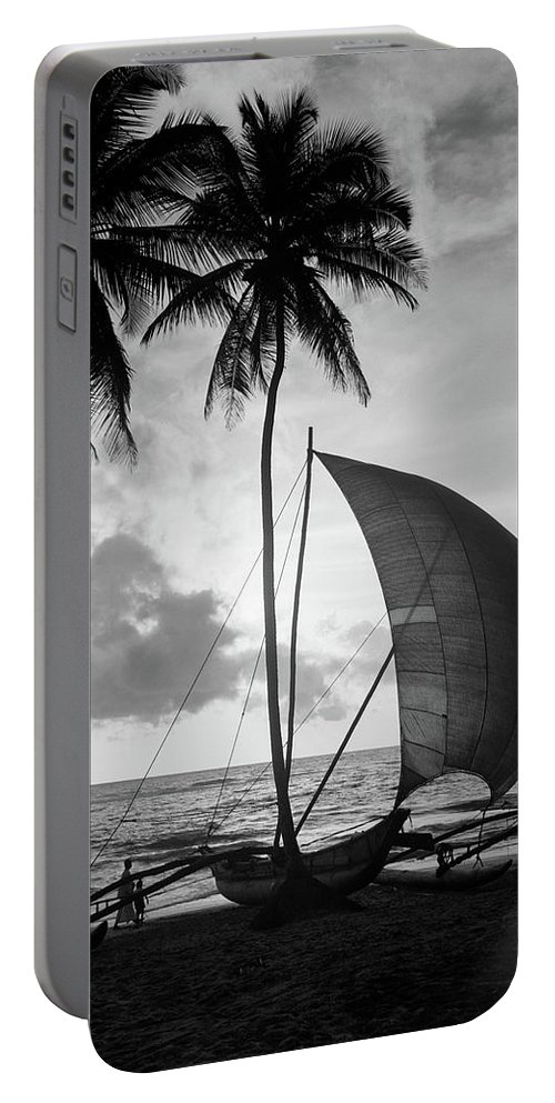 Photography Portable Battery Charger featuring the photograph 1930s Single Catamaran On Tropical by Vintage Images