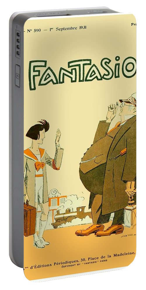 Le Rire Portable Battery Charger featuring the digital art 1931 - Fantasio French Magazine Cover - September - Color by John Madison