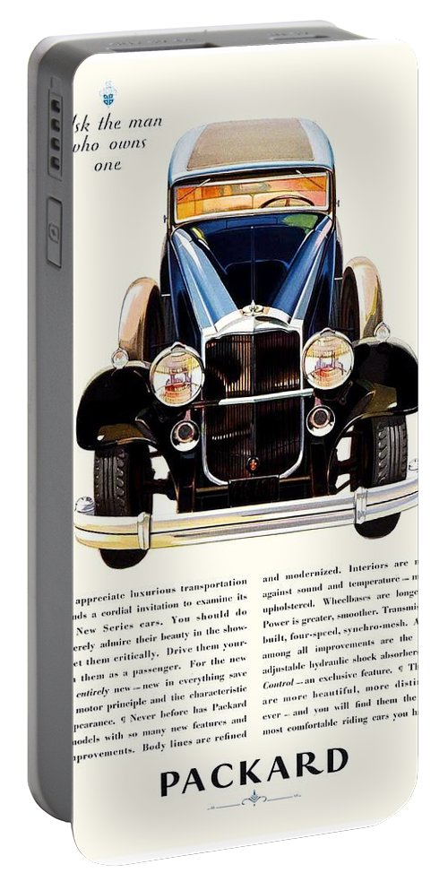 1927 Portable Battery Charger featuring the digital art 1931 - Packard Automobile Advertisement - Color by John Madison
