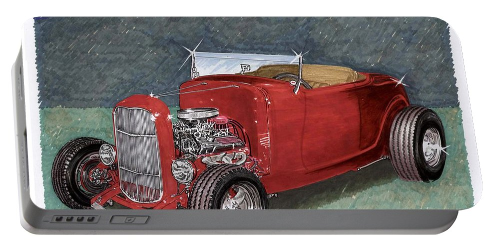 Classic Car Art Portable Battery Charger featuring the painting 1932 Ford High Boy by Jack Pumphrey