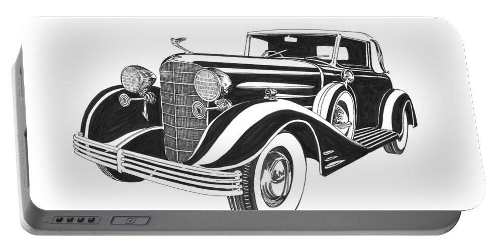 A Pen & Ink Art Drawing By Jack Pumphrey Of A 1933 Portable Battery Charger featuring the drawing Cadillac Victoria V 16 Convertible by Jack Pumphrey