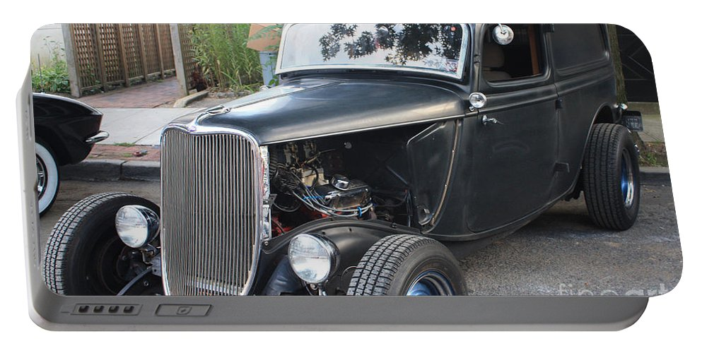 1933 Ford Two Door Sedan Front And Side View Portable Battery Charger featuring the photograph 1933 Ford Two Door Sedan Front And Side View by John Telfer