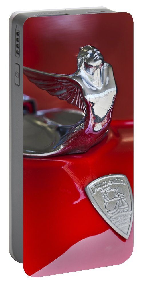 1933 Plymouth Custom Coupe Portable Battery Charger featuring the photograph 1933 Plymouth Hood Ornament by Jill Reger