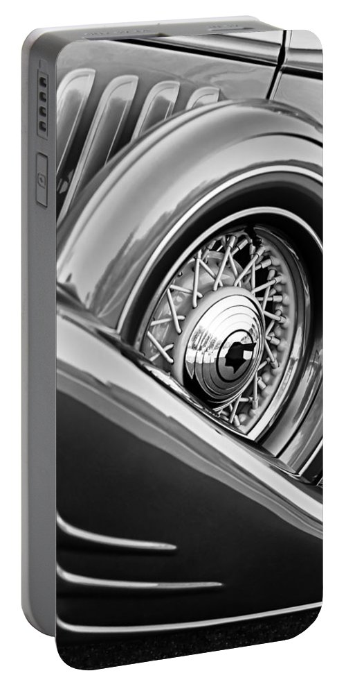 1933 Pontiac Spare Tire Portable Battery Charger featuring the photograph 1933 Pontiac Spare Tire -0431bw by Jill Reger