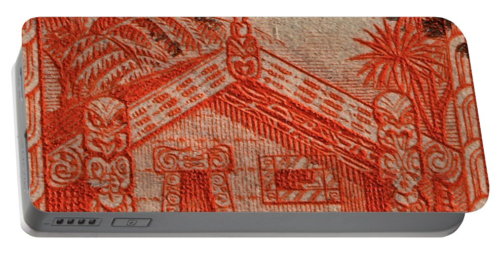 1935 Portable Battery Charger featuring the photograph 1935 Carved Maori House New Zealand Stamp by Bill Owen