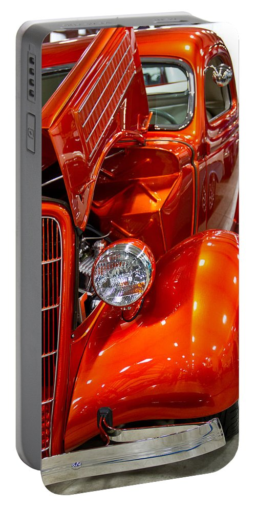 Vertical Portable Battery Charger featuring the photograph 1935 Orange Ford-front View by Eti Reid