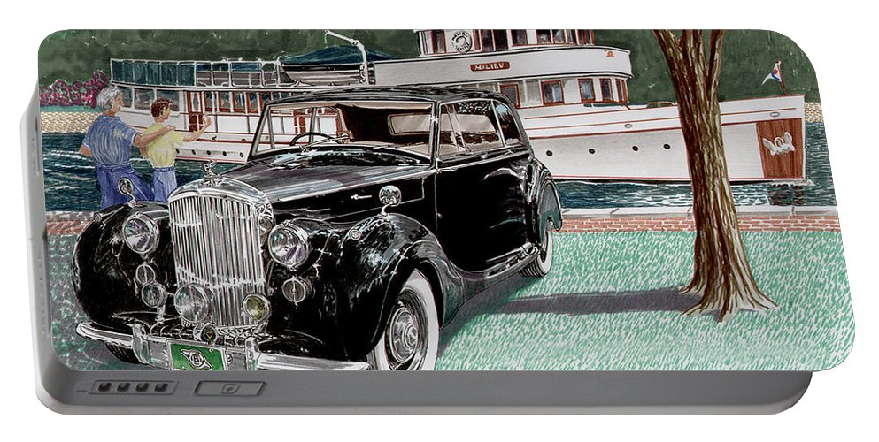 Classic 1936 Bentley British Car Art Portable Battery Charger featuring the painting Bentley Waving To Malibu by Jack Pumphrey