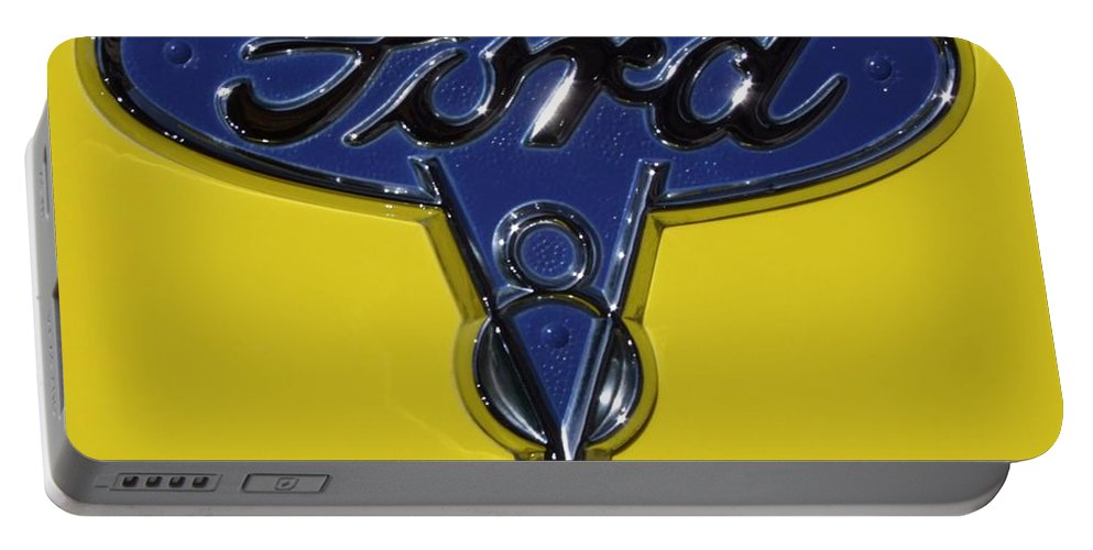 1936 Ford Portable Battery Charger featuring the photograph 1936 Ford Pickup Emblem by Mary Deal