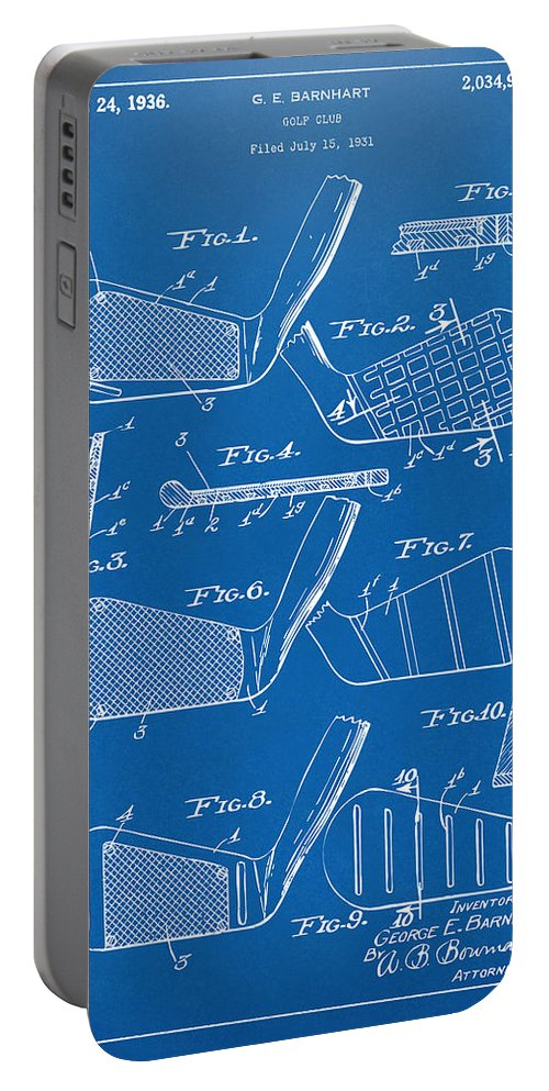 Golf Portable Battery Charger featuring the digital art 1936 Golf Club Patent Blueprint by Nikki Marie Smith