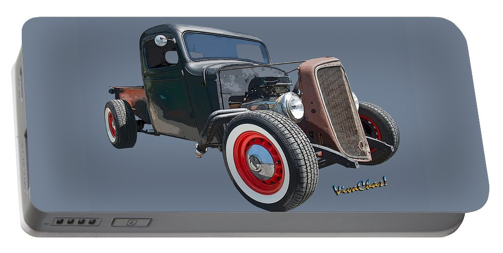 1936 Portable Battery Charger featuring the photograph 1936 Rat Rod Chevy Pickup by Chas Sinklier