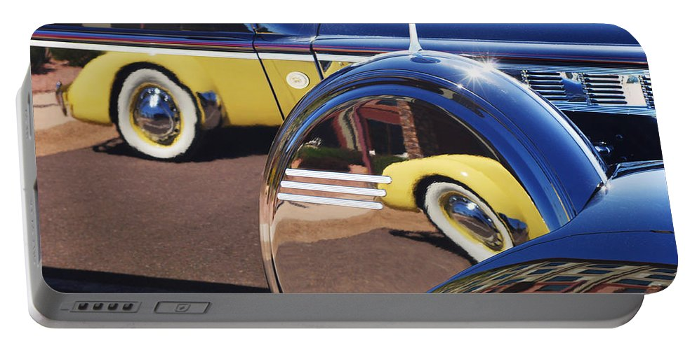 1937 Cord 812 Phaeton Reflected Into Packard Portable Battery Charger featuring the photograph 1937 Cord 812 Phaeton Reflected Into Packard by Jill Reger