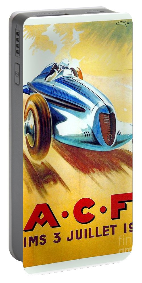 1938 Portable Battery Charger featuring the digital art 1938 - Automobile Club De France Poster - Reims - George Ham - Color by John Madison