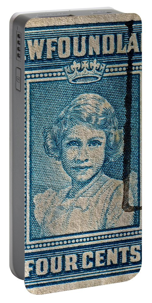 1938 Portable Battery Charger featuring the photograph 1938 Queen Elizabeth II Newfoundland Stamp by Bill Owen
