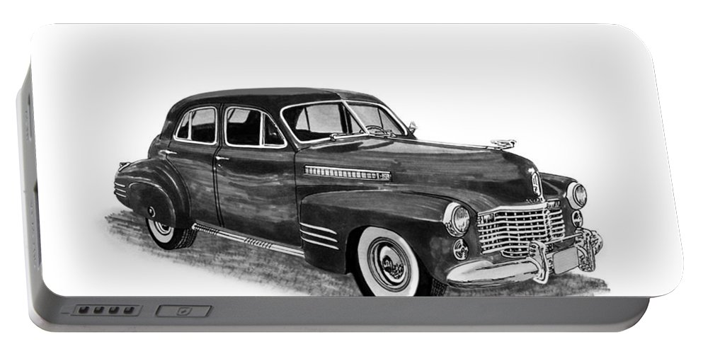 Framed Prints Of Pen And Ink Wash Paintings Of Cars From The 30s Portable Battery Charger featuring the painting 1941 Cadillac Fleetwood Sedan by Jack Pumphrey