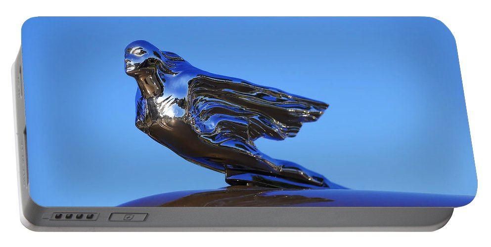 Portable Battery Charger featuring the photograph 1941 Cadillac Series 62 Coupe Hood Ornament by Gordon Dean II
