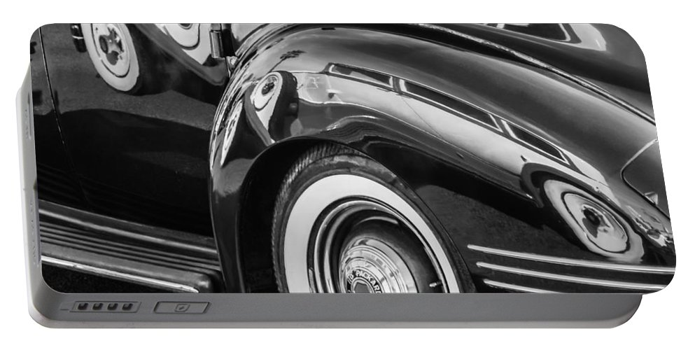 1941 Packard 110 Deluxe Portable Battery Charger featuring the photograph 1941 Packard 110 Deluxe -1092bw by Jill Reger