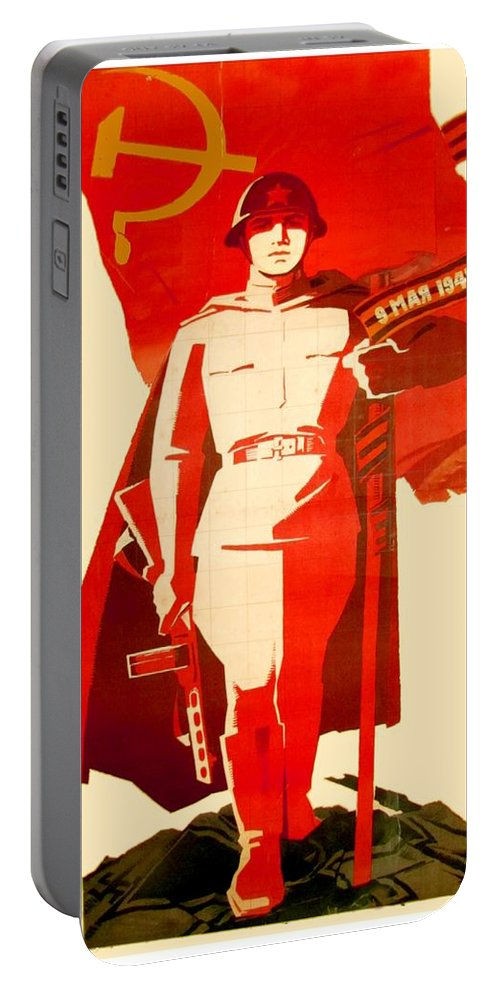 1946 Portable Battery Charger featuring the digital art 1946 - Soviet Red Army Victory Poster - Color by John Madison