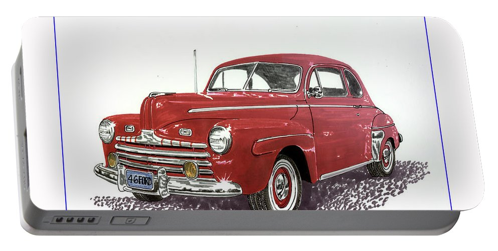 1946 Ford Deluxe Coupe Art. Framed Art Of Old Gas Stations. Gas Station Art. Art Of Old Gas Stations. Framed Art Of Gas Stations. Nostalgia Gas Station Art. Gilmore Gas Station Art Automotive Prints Portable Battery Charger featuring the painting Ford Special Deluxe Coup E From 1946 by Jack Pumphrey