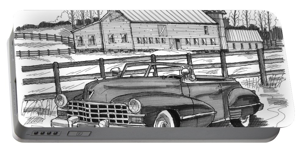 1947 Cadillac Model 52 Portable Battery Charger featuring the drawing 1947 Cadillac Model 52 by Richard Wambach