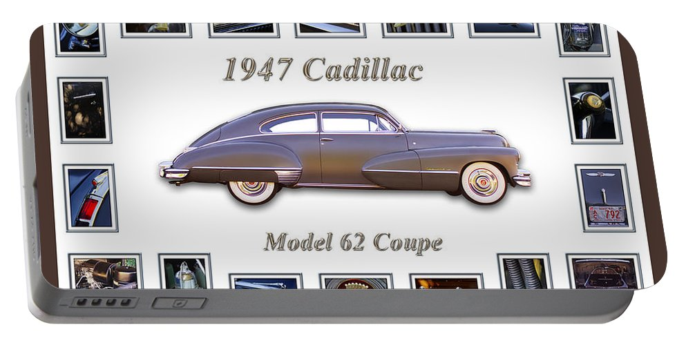 1947 Cadillac Model 62 Coupe Art Portable Battery Charger featuring the photograph 1947 Cadillac Model 62 Coupe Art by Jill Reger