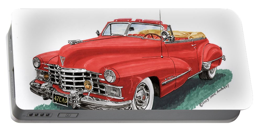 Framed Prints Of Vintage 1947 Cadillac Convertibles Portable Battery Charger featuring the painting Cadillac Series 62 Convertible by Jack Pumphrey