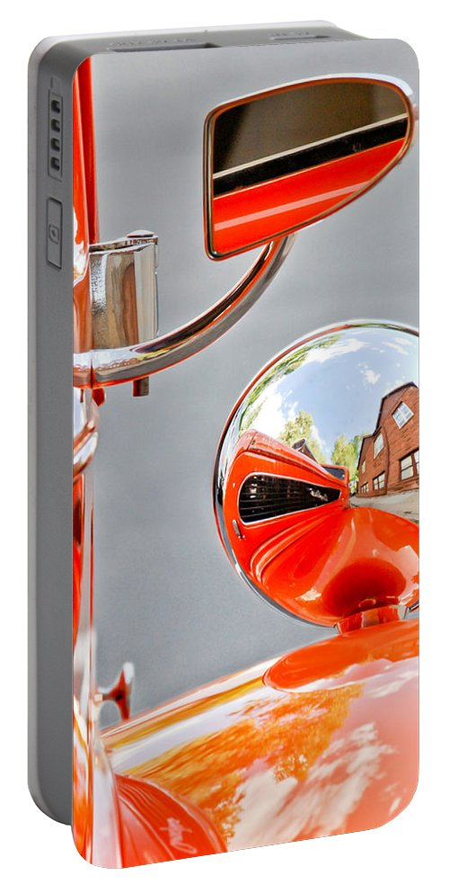 1948 Anglia Rearview Mirror Portable Battery Charger featuring the photograph 1948 Anglia Rear View Mirror -451c by Jill Reger
