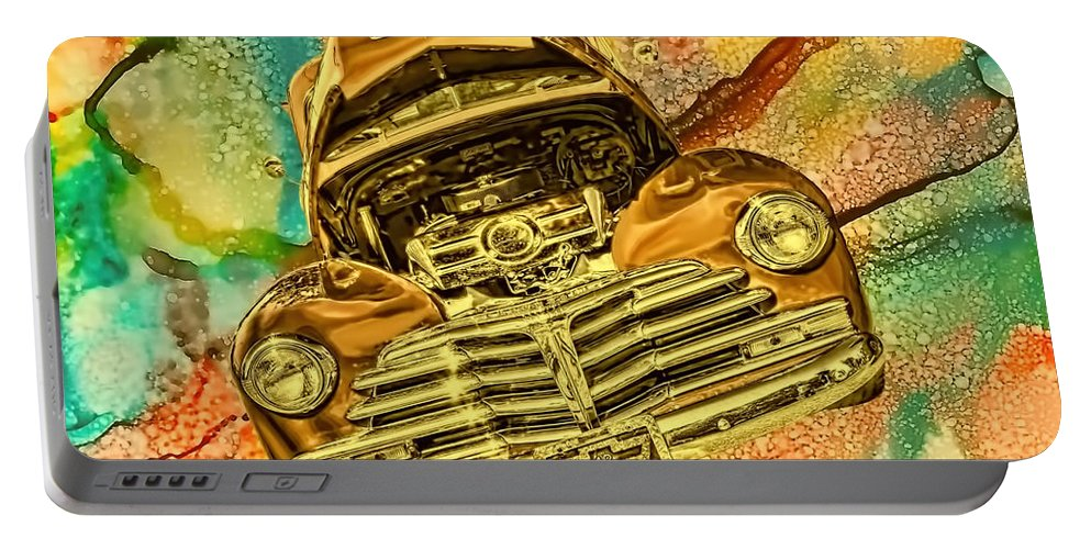 1948 Portable Battery Charger featuring the photograph 1948 Chev Gold Tie Dye Tilt Car Art by Lesa Fine